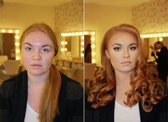 45 Before and After Makeup Photos That Show The Power of Makeup http://www.funnyworm.com/p/before-and-after-makeup-photos/  #makeup #artist #brilliant #wow #models #actors #amazing