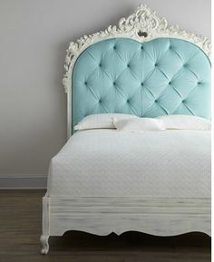 "Classic with a twist—a highly-carved and light blue diamond-tufted headboard adorns this impressive Florence de Dampierre ""Bouvier"" Bed. From the Florence de Dampierre Collection for … Dream Bedroom, Home Bedroom, Bedroom Decor, Bedroom Ideas, Design Bedroom, Girls Bedroom, Wall Decor, Turquoise Headboard, Blue Headboard"