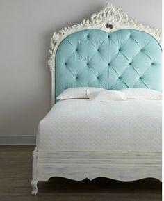 Parisian Blue Tufted Headboard For Small bedroom