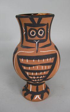 Pablo Picasso, 1881-1973, 'Mat Wood Owl', 1958, Ceramic Glazed Pitcher, Madoura Ed. Picasso