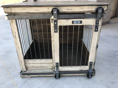 Single barn door rolling dog kennel! Gorgeous sturdy design meant to replace your wire crate!  Check out all of our designs!  Perfect entry way table or tv stand!  We make standard sizes and custom pieces, too!  Create your today with @kennelandcrate!