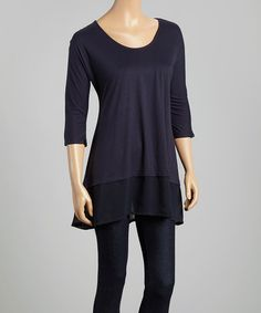 Look what I found on #zulily! Ink Chiffon-Hem Three-Quarter Sleeve Top by Dantelle #zulilyfinds