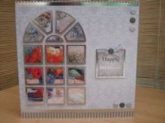 """This stunning card measures 8"""" x 8"""" in size and comes with a white envelope and protected in a cello bag. The topper in the shape of an arched window has been divided in squares etc features a floral scene. Each section has silver foiling around the edges and have been raised to give dimension. The sentiment reads """"Happy Birthday"""". Card Candi and a silver bow has been used to decorate. http://www.makesellbuy.com/products/view/1362992487/handmade-birthday-card-ladies-floral-window"""