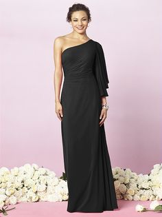 One shoulder full length lux chiffon dress with flowing sleeve and draped detail at bodice. Available in sizes 00-30W.   http://www.dessy.com/dresses/bridesmaid/6637/