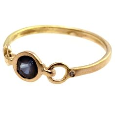 Missing link. Sapphire ring with tiny diamonds, on 18kt pink gold. By Scosha, $984
