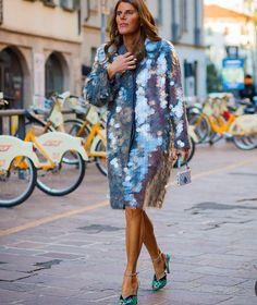 Anna dello Russo's sparkly silver coat