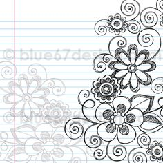 Hand-Drawn Sketchy Notebook Doodle Flower Page Border- Vector Illustration by blue67design by blue67design, via Flickr