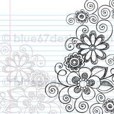Hand-Drawn Sketchy Notebook Doodle Flower Page Border- Vector Illustration by blue67design by blue67design, via Flickr