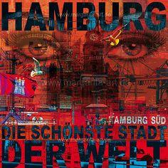 Hamburg Collage - DIE SCHÖNSTE STADT DER WELT - 175 Elbphilharmonie Michel City Bild Wandbild Leinwand 100x100