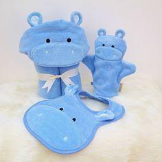 hippo baby towel gift set by bathing bunnies   notonthehighstreet.com