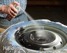 How to Refinish Wheels: The best part of refinishing the wheels is finally getting the finish coat on. Get the instructions: http://www.familyhandyman.com/automotive/car-maintenance/how-to-refinish-wheels/view-all