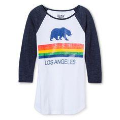 Los Angeles Local Pride by Todd Snyder Women's LA Rainbow Cali Bear Raglan Tee - White Xxl