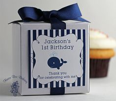 Little Whale...One Dozen Personalized Cupcake Mix Party Favors for Birthdays or Baby Showers