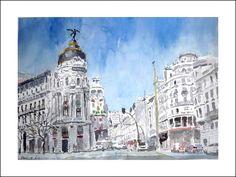 Gran Vía de Madrid, acuarela.  Más detalles en: http://www.rubendeluis.com
