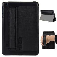 Speaker Amplifier Design Folio Stand Leather Case For iPad Mini - Black