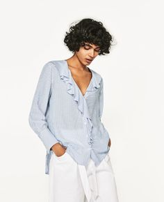 Image 2 of STRIPED SHIRT WITH RUFFLES from Zara