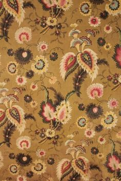 Antique French c1830 printed chintz cotton