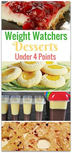 Delicious Weight Watchers Desserts Under 4 Points is part of dessert Minceur Weight Watchers - I had no idea there were so many weight watchers desserts under 4 points My biggest challenge with trying to lose weight is wanting something sweet Weight Watcher Desserts, Weight Watcher Dinners, Plats Weight Watchers, Weight Watchers Smart Points, Weight Watchers Diet, Dessert Ww, Low Carb Dessert, Ww Desserts, Healthy Desserts