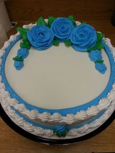Dairy Queen Cake. Blue roses.