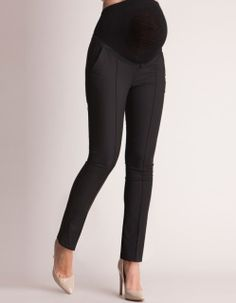 A chic pair of black maternity pants is a must have for a working mom-to-be, and these are beautifully tailored to fit and flatter throughout your pregnancy. An ultra-soft elasticized over-bump band fits seamlessly under your clothes, providing an extra layer of support and a flexible fit for every stage. The flattering slim leg cut lengthens your legs, and a stylish front pleat and silky lined pockets provide that perfect professional polish to finish the look.   Color: Black 57% Cotton…