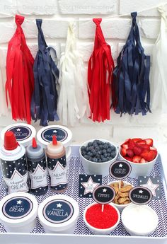 Memorial day and 4th of July party ideas -- Patriotic ice cream labels
