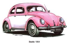 Blue 1954 Volkswagon Beetle