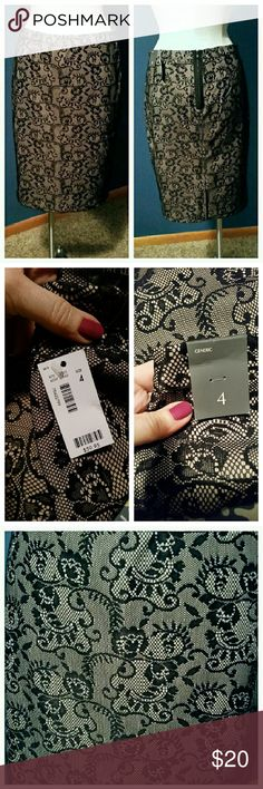 """The Limited black paisley pencil skirt Brand new with tags. Beautiful style and very flattering. 25"""" from hip to hemline. Zipper in the back. I have the same skirt for sale in size 8 also. The Limited Skirts Pencil"""
