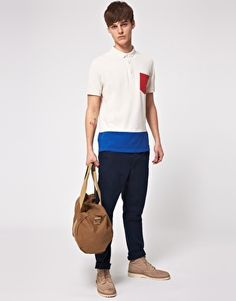 Enlarge ASOS Polo With Colour Block Pocket And Hem