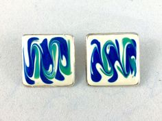 Sixties Abstract Modern Blue, Teal, Cream Clip On Earrings / Vintage Painted Enamel & Silver Tone Metal Square Clips / Estate Jewellery by VintageFrancesM on Etsy
