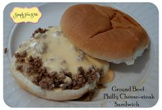 Ground Beef Philly Cheesesteak Sandwiches - I think these could be reworked a little to make them delicious. Meat Recipes, Cooking Recipes, Recipies, Yummy Recipes, Soup And Sandwich, Cheesesteak, Love Food, Just In Case, Ground Beef