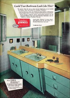 love this mid century bathroom.  those angled cabinets are wonderful!