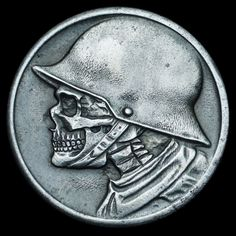 """""""Stadt Düren Seth Basista 2016 Original German coin modified by hand to feature a skull. Old Coins, Rare Coins, Hobo Nickel, Coin Art, Aliens And Ufos, Bullion Coins, Coins For Sale, Skull And Bones, Coin Collecting"""