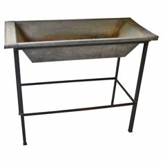 French Bakery Dough Bowl of Galvanized Steel on Stand | From a unique collection of antique and modern industrial furniture at https://www.1stdibs.com/furniture/more-furniture-collectibles/industrial-furniture/