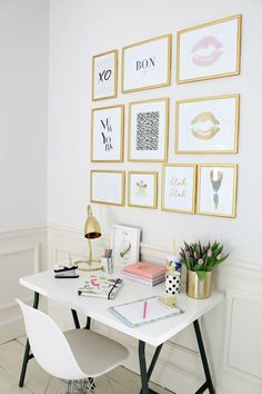 The French Bedroom Company Blog | How To: Make Your Home Insta-Worthy. Get your home instagram ready with our top tips and ideas. We love this gold frame print gallery wall in a home office with a small white desk and chair with gold accessories and stationary