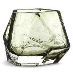 Wit & Delight Faceted Geometric Candle Holder - Olive Green