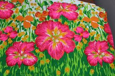 3 yards Pychedelic Colors Neon 1970s Fabric by Plantdreaming
