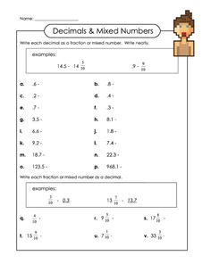 ... and math worksheets : Converting Fractions Into Decimals Worksheets