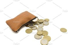 purse full of money on a white background