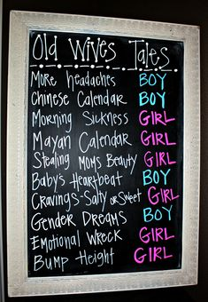 Cute for a baby shower or gender reveal! Use old wives tales to predict what the gender will be. by lucaspaolo. Old Wives Tale, Wives Tales, Baby Gender Reveal Party, Gender Party, Gender Reveal Nails, Gender Reveal Party Decorations, Shower Bebe, Baby On The Way, Baby Party