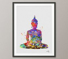 Buddha Yoga Pose Watercolor illustrations Art Print by CocoMilla