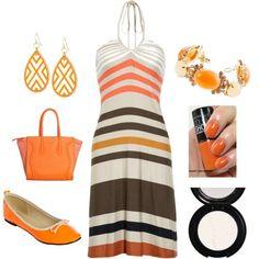 LOLO Moda: #stylish #orange #dress #flat, http://www.lolomoda.com/