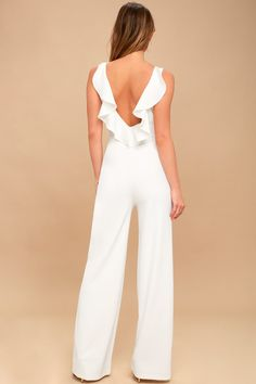 Be event ready in an instant with the Enamored White Backless Jumpsuit! Medium-weight knit shapes a rounded neckline and darted, sleeveless bodice. Wedding Jumpsuit, Backless Jumpsuit, White Dress Outfit, Dress Outfits, Dress Shoes, Shoes Heels, Long Jumpsuits, Jumpsuits For Women, Casual Wedding Gowns