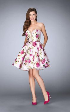 La Femme 24211 Charming short mikado floral dress with pockets. This dress is strapless with a deep V neckline. Back zipper closure. Floral Homecoming Dresses, Grad Dresses Short, Dressy Dresses, Party Dresses For Women, Graduation Dresses, Wedding Dresses, Fit And Flare Cocktail Dress, Short Cocktail Dress, Cocktail Dresses