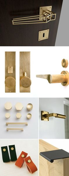 modern industrial hardware and fixture inspiration for kitchen, bathroom, cabinets and furniture, including knobs, handles, faucet. Poignées et boutons de portes et placards
