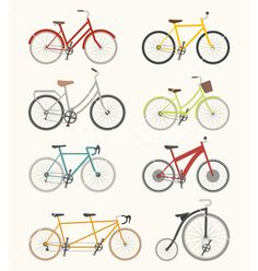 Buy Set of Retro Bicycles by on GraphicRiver. Set of retro bicycle , vector format Bicycle Illustration, Graphic Illustration, Photography Names, Creative Photography, Retro Bicycle, Bike Chain, Vector Format, Vector Art, Clip Art