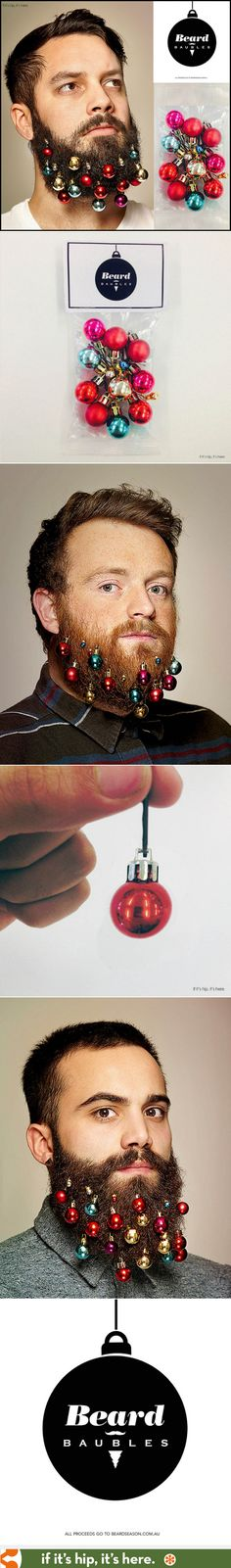Beard Baubles Make Hipster Facial Hair Festive. | http://www.ifitshipitshere.com/beard-baubles/