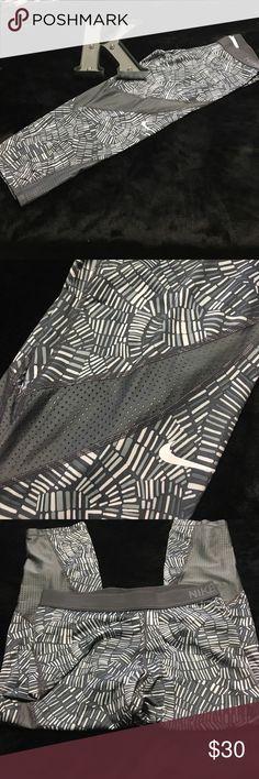 Nike Pro Hypercool Gray Capri Mesh Leggings Never worn- perfect condition! Mesh wraps around the legs- so cute! Nike Pants Leggings