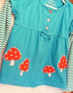 rough applique fabric and felt toadstool embellished toddler girl shirt, polka dot mushrooms