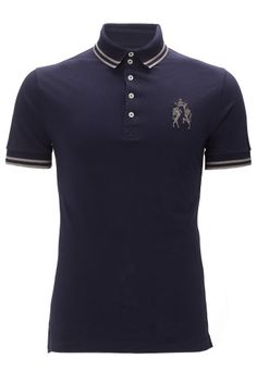 two button club polo shirt in navy by Vivienne Westwood.