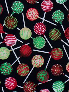Cake Pops Fabric / Christmas Cake Pops / Desserts Fabric / Last Yard! Christmas Craft Show, Christmas Cake Pops, Christmas Brunch, Christmas Sweets, Christmas Goodies, Christmas Baking, Purple Wedding Cakes, Wedding Cakes With Flowers, Elegant Wedding Cakes